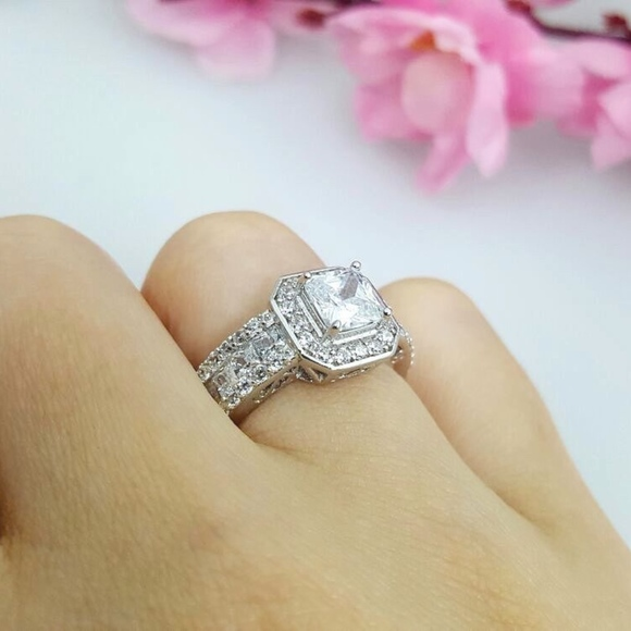 Sterling Silver Cushion Cut Cz Engagement Ring